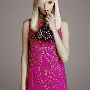 BNWT H&M x Versace pink studded silk dress size 4